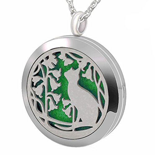 Popeoiuh Essential Oil Diffuser Necklace Aromatherapy Perfume Stainless Steel Magnetic Cat Locket Pendant Jewelry for Women Girl Boy Men Mother's Day Gift By