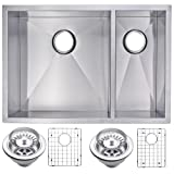 Water Creation SSSG-UD-2920B 29-Inch X 20-Inch Zero Radius 70/30 Double Bowl Stainless Steel Hand Made Undermount Kitchen Sink with Drain and Strainers