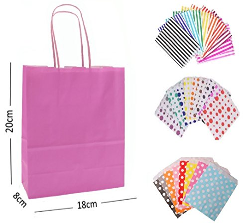 20 x LIGHT BABY PINK PARTY PAPER GIFT BAGS – WITH MATCHING CANDY STRIPE SWEET BAG