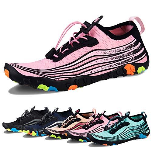 Water Shoes Mens Womens Beach Swim Shoes Quick-Dry Aqua Socks Pool Shoes for Surf Yoga Water Aerobics (I-Pink, 41) ()