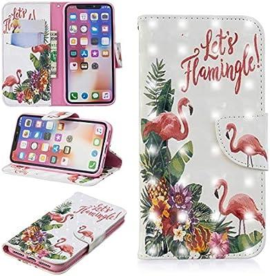 Compatible with iPhone Estuche de Cuero con Tiras horizontales con patrón de Dibujo Coloreado 3D for iPhoneX y XS, con Soporte y Ranuras for Tarjetas y Cartera (Patrón : English Flamingo): Amazon.es: