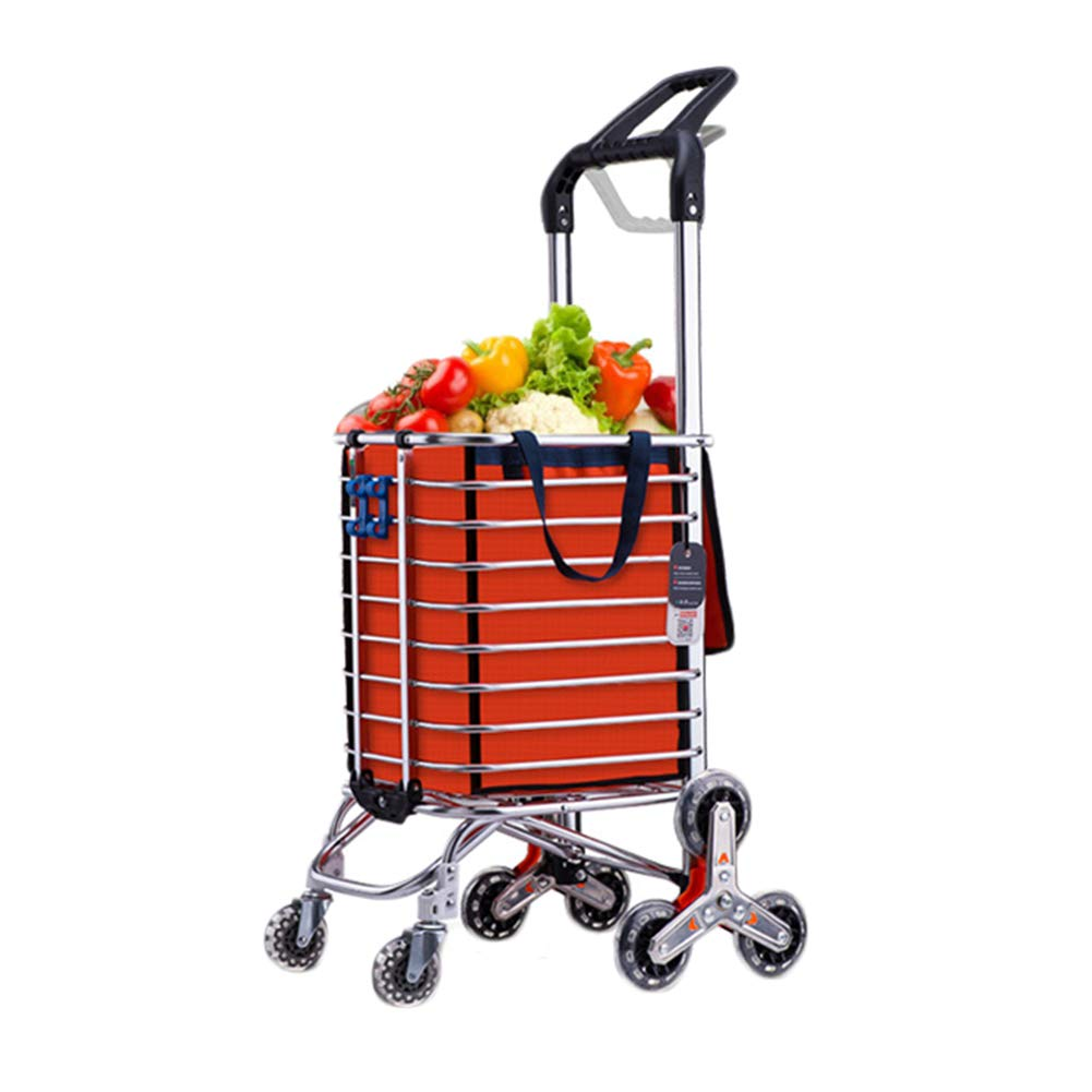 WUFENG ショッピングカート 多機能 階段を上る ポータブル 折りたたみ式 様々な買い物用品のために、 2色 (色 : Orange, サイズ さいず : 30x52x105cm) B07NVL84K4 Orange 30x52x105cm
