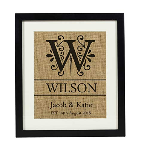 Darling Souvenir Initial Monogram Burlap Print Wall Decor Save The Date Personalized Wedding Gift-Burlap Print with Frame(11 x 14 Inches)