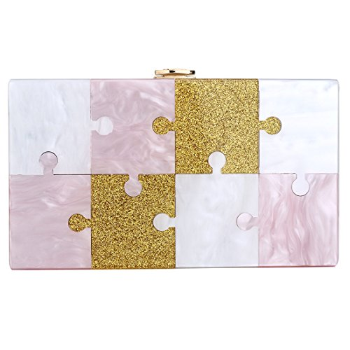 Clutch Evening Women Design Blue Glitter Jigsaw Bags Acrylic Purse Bag Handbags for dq0awvxg