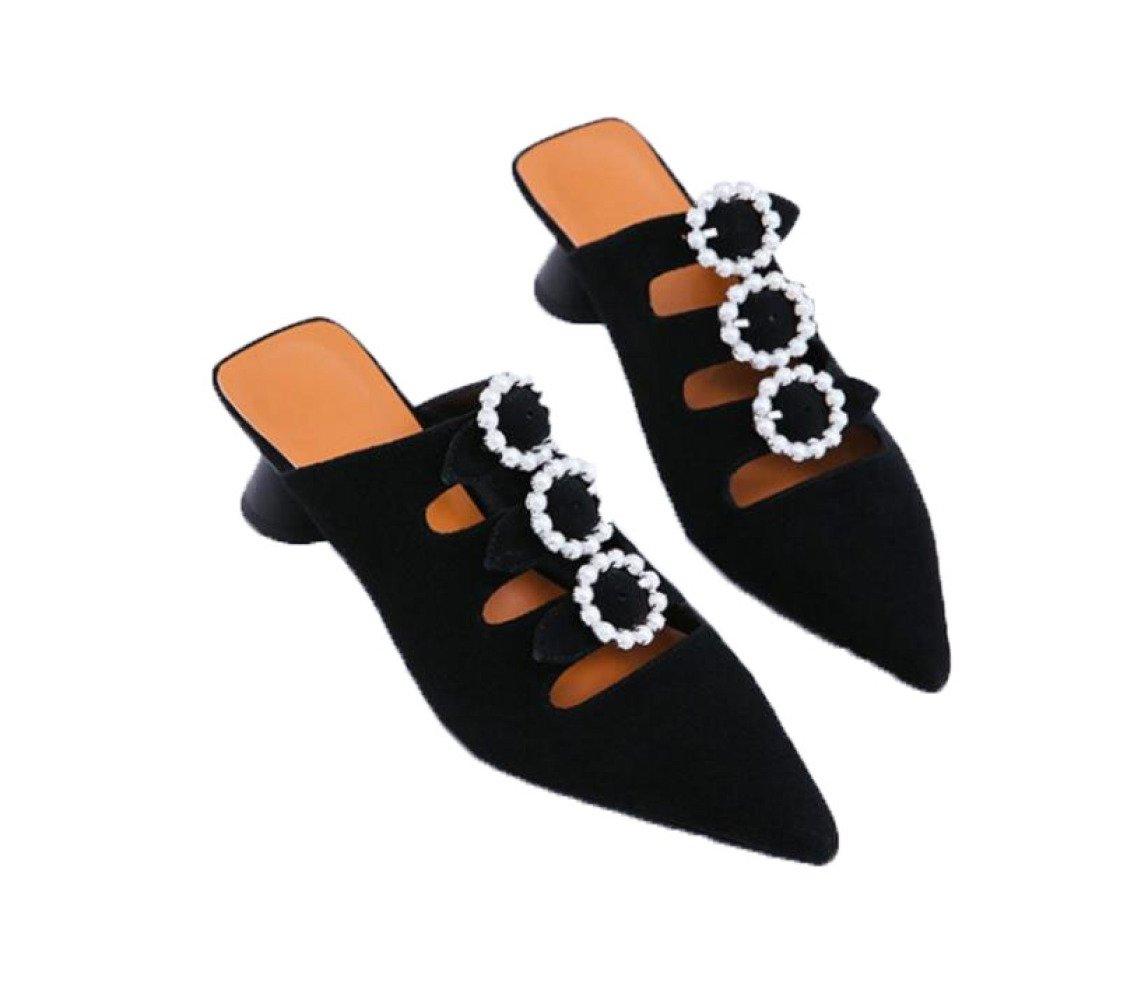 MUYII Damen Sandalen Spitzbogen Leder Damenschuhe  36|Black