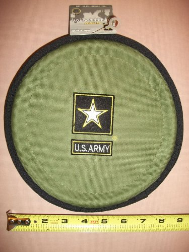 Official Licensed Us Army Folding Dog Frisbee-Green or Brown (Color Varies Per Order)