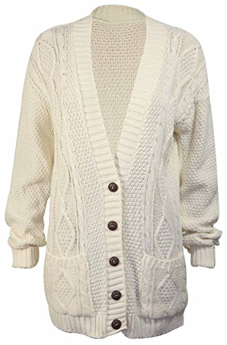 Cream Knit Sweater - PurpleHanger Women's Long Sleeve Cable Knit Chunky Cardigan Cream 8-10