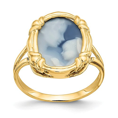 14K Heavens Gift Agate Cameo Ring