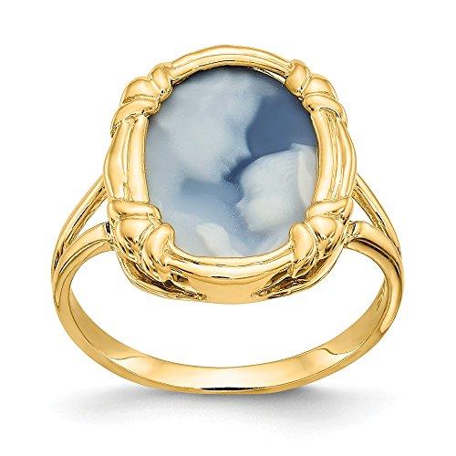 14k Heavens Gift Agate Cameo Ring (Agate 14k Gift Heavens)