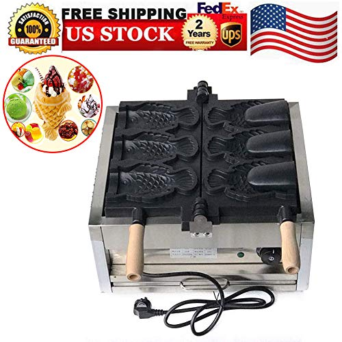 (Waffle Makers, Feiuruhf 110V Fish Waffle Taiyaki Maker 3PCS Commercial Nonstick Electric Fish Waffle Ice Cream Makers Waffle Irons Machine, USA)