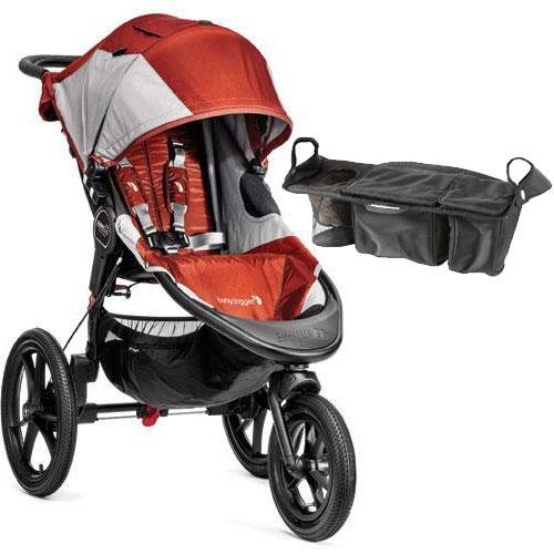Baby Jogger - Summit X3 Single Jogging Stroller with Parent Console - Orange Gray