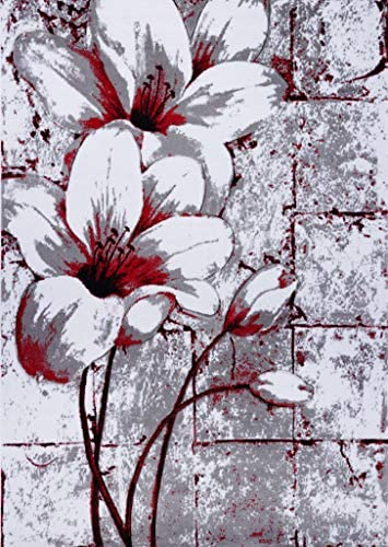 Ladole Rugs Beautiful Tulips Floral Pattern Durable Indoor Area Rug Living Room Bedroom Entrance Hallway Carpet in Grey Red 8×11 7 10 x 10 5 240cm x 320cm 5×7 8×10 9×12 2×10 4×6 feet
