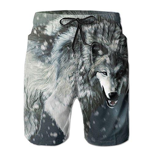 Cartoon Anime Wolf Men's Summer Surf Swim Trunks Beach Shorts Pants Quick Dry with Pockets ()