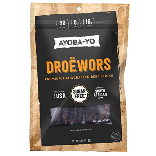 (Ayoba-Yo Droewors Beef Sticks. Keto Diet Friendly Air-Dried Sausages. Made With Premium Meat. Gluten Free, Nitrate Nitrite Free, No Sugar. Healthy and Natural Snacks. 4)