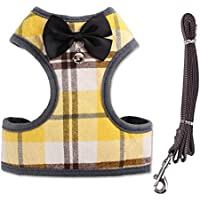 FidgetGear Pet Dog Cat Mesh Vest Harness Leash Set with Bell Bowknot Puppy Collar Leads Yellow S
