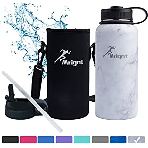 Stainless Steel Vacuum Insulated 40/32 OZ Sports Water Bottle|Best Water Bottle for Men&Women|BUY ONE GET THREE FREE GIFTS-A Straw Lid& A Bottle Pouch & A Bottle Brush-White 32