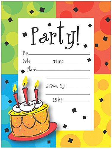 [Creative Converting 8 Count Cake Celebration Postcard Party Invitations, Multicolor] (Childrens Costume Party Invitations)
