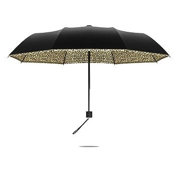 Paraguas negro de la impresión del leopardo que dobla el paraguas ULTRAVIOLETA portátil, paraguas a
