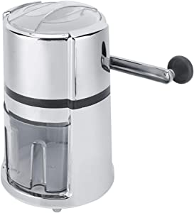 Ice Crusher, Shaved Ice Maker Stainless Steel Round Shape Hand Crank Manual Ice Crusher Shaved Ice Machine Kitchen Tool