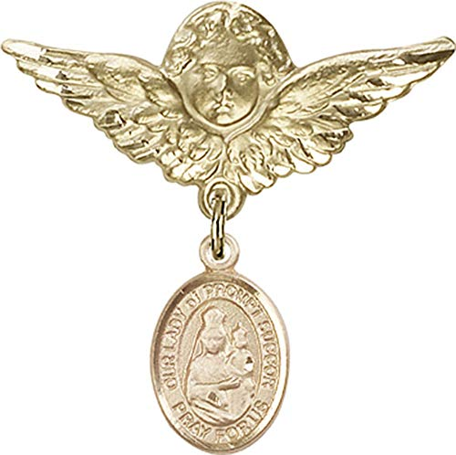 14kt Gold Baby Badge with O/L of Prompt Succor Charm and Angel w/Wings Badge Pin O/L of Prompt Succor is the Patron Saint of New Orleans, LA 1 1/8 X 1 1/8 ()