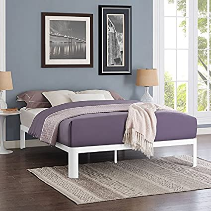 6835232b809f9c Amazon.com: Modway Corinne Steel Queen Modern Mattress Foundation Platform  Bed Frame with Wood Slat Support in White: Kitchen & Dining