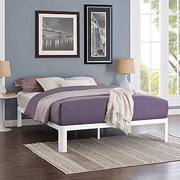 Modway Corinne Steel Queen Modern Mattress Foundation Platform Bed Frame With Wood Slat Support In White