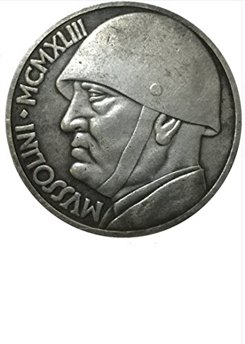 RARE Antique Ancient European Italy Mussolini 1943 Italy 20 Lire Silver Color Coin