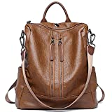 Women Backpack PU Leather Casual Medium Purse Lightweight Earphone Hole Shoulder Bag,Brown