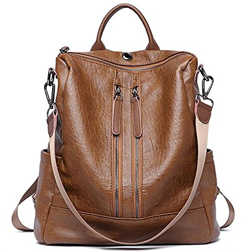 Women Backpack PU Leather Casual Medium Purse Lightweight Earphone Hole Shoulder Bag,Brown by OASD
