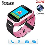 Dxrise Games GPS tracker watch phone gps smartwatch kids watches smart baby watch bracelet with camera flashlight function for girls boys toys gift (Pink)