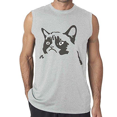 Grumpy Cat Meme Costume (Men's Tank Top Cute Cat Muscle Sleeveless Shirt XX-Large)