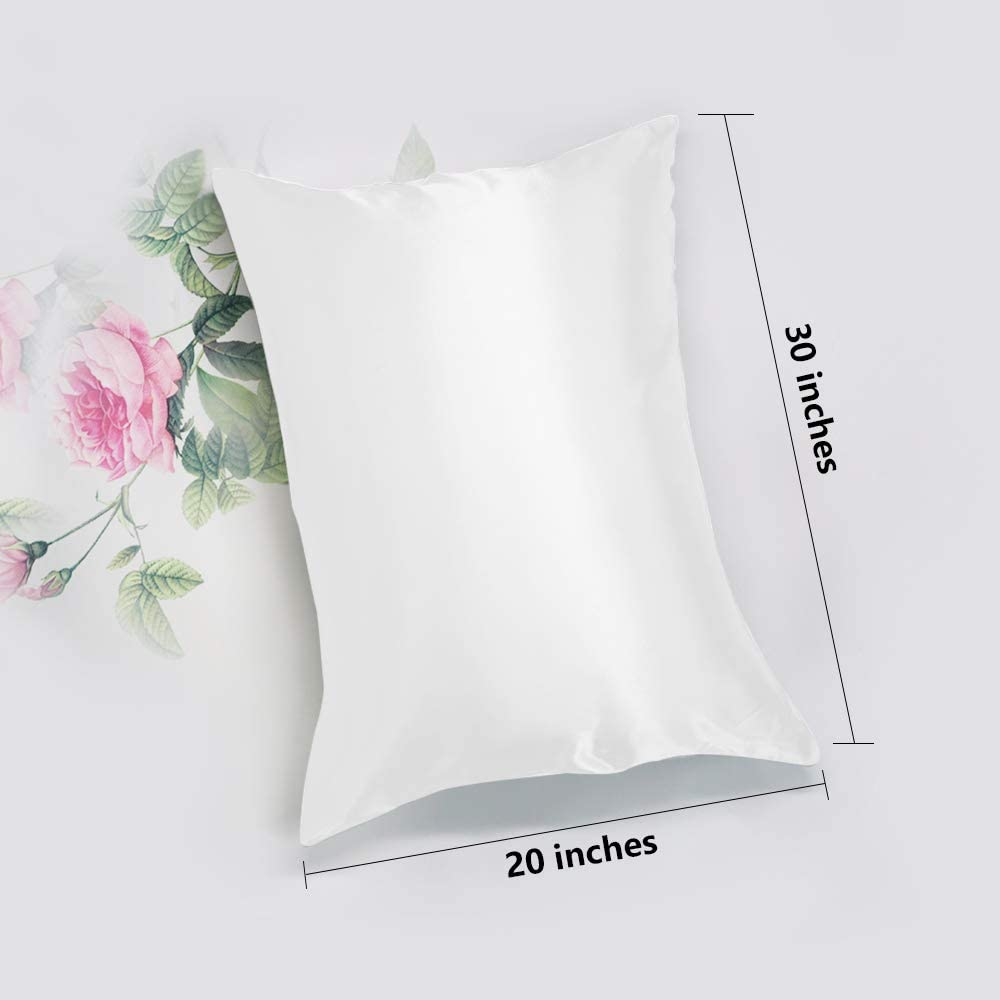 Leccod 2 Pack Silk Satin Pillowcase for Hair and Skin Cool Super Soft and Luxury Pillow Cases Covers with Envelope Closure Baby Blue, King: 20x36