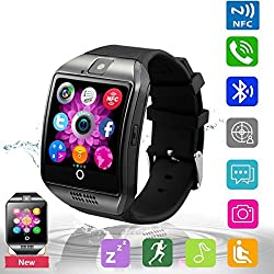 Bluetooth Smart Watch Phone Pandaoo Smart Watch Mobile Phone Unlocked Universal GSM Bluetooth 4.0 NFC Music Player Camera Calendar Stopwatch Sync for Android iPhone Google Huawei Smartphones (Black)