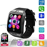 Bluetooth Smart Watch Phone Mobile Phone Unlocked Universal GSM Bluetooth 4.0 NFC Music Player Camera Calendar Stopwatch Sync for Android iPhone Google Huawei Smartphones Plus Backup Battery (Black)