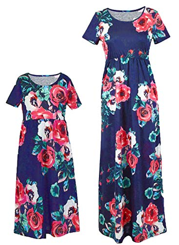 Mommy and Me Dresses Plus Size Family Matching Outfits Fall Casual Floral Maxi Dress with Pocket