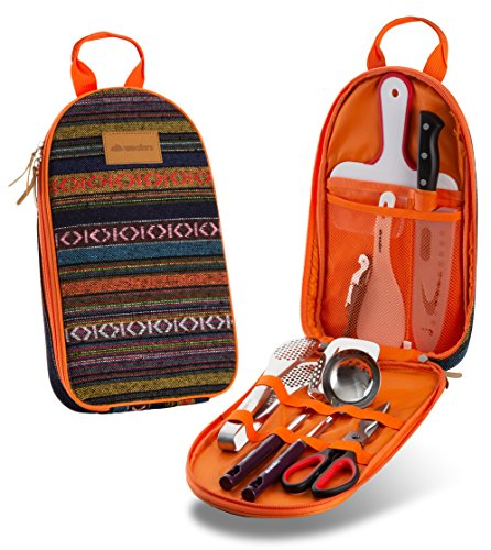 Camp Kitchen Utensil Organizer Travel Set made our CampingForFoodies hand-selected list of 100+ Camping Stocking Stuffers For RV And Tent Campers!