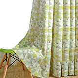 VOGOL Print Curtains Window Room Grommet Curtain Drapes for Bedroom and Living Room, Set of 2 Panels, W52 x L84 inch,White and Yellow Floral in Light Blue