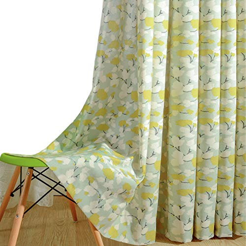 VOGOL Print Curtains Window Room Grommet Curtain Drapes for Bedroom and Living Room, Set of 2 Panels, W52 x L84 inch,White and Yellow Floral in Light Blue -