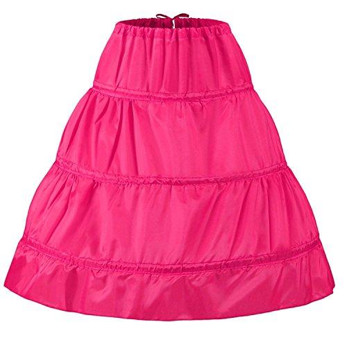Dannifore Girl's Rose Red 3 Hoops Short Crinoline Petticoats Slips Underskirt]()