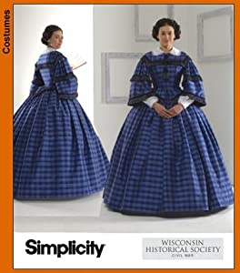 Victorian Sewing Patterns- Dress, Blouse, Hat, Coat, Mens Simplicity 3727 Sew Pattern Misses Civil War Costume Wisconsin Historical Society SIZE 8-14 $24.95 AT vintagedancer.com