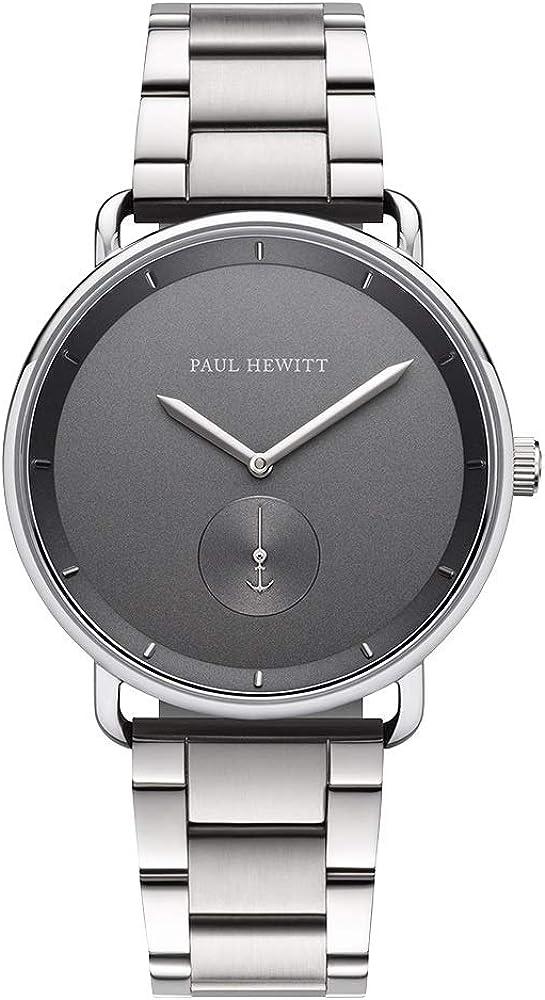 PAUL HEWITT Reloj de Pulsera para Hombre en Acero Inoxidable Breakwater Iron Grey - Reloj con Correa Plateada de Acero Inoxidable, Reloj de muñeca para Hombre con Esfera Gris y Detalles en Plata