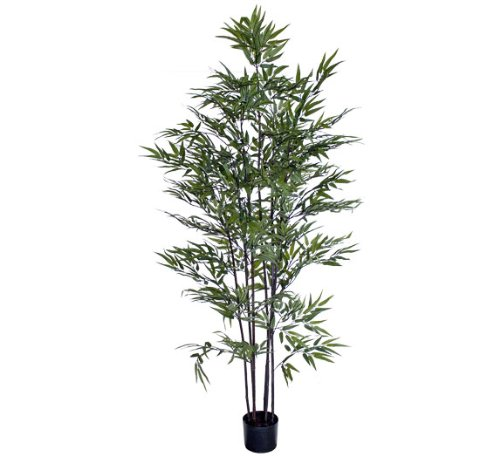 Silk Décor Bamboo Tree in Black Plastic Pot, 5-Feet Black Bamboo Tree