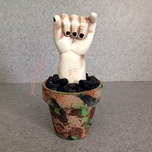Haunted stuff, Creepy hand, Business card holder, Halloween table top decoration, desktop babydoll hand, potted palm, hand out of the ground (Halloween Tabletop)