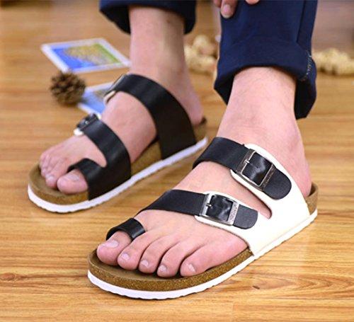 Unisex Cork Sandals Mens Flip Flops Slippers Women's Summer Sandals Black White UQQIDm