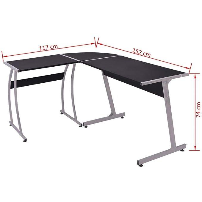 vidaXL – Mesa de escritorio en esquina L en forma de Negro: Amazon ...