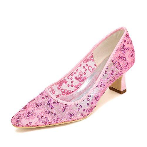 Mesh Confortable talons profondes de femmes femmes en Pink Chaussures dentelle chaussures pointe Chaussures talon Qingchunhuangtang Chaussures hauts peu Mariage FOAqA
