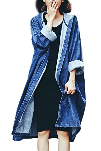 La Mujer Otoño Casual Manga Larga Larga Con Capucha Chaqueta Denim Outwear Chaqueta Estilo Punk BF Darkblue