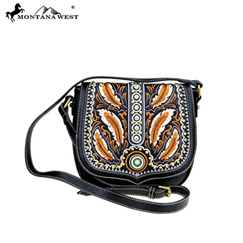 MW395-8360 Montana West Concho Collection Crossbody Bag-Black (Womens Concho)