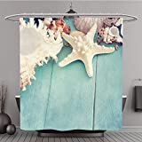 Shower Curtain 235564219 Concept of the summer time with fish star and sea shells on the wooden blue background Polyester Fabric bath curtain
