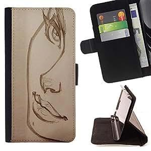 - beautiful sketch lashes lips charcoal art - - Prima caja de la PU billetera de cuero con ranuras para tarjetas, efectivo desmontable correa para l Funny HouseFOR Apple Iphone 4 / 4S